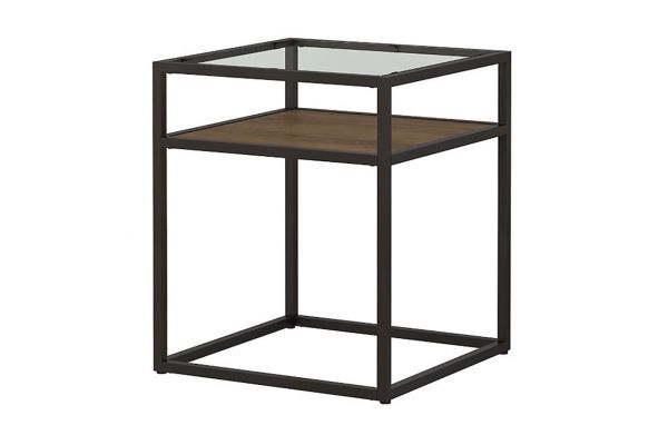Large image of Bush Furniture Anthropology Rustic Brown Embossed Glass Top End Table - ATT120RB-03