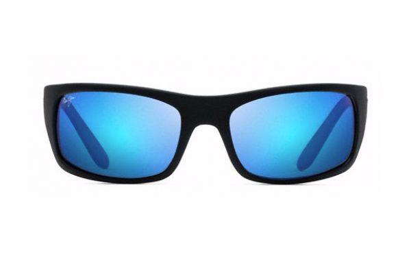 Large image of Maui Jim Peahi Matte Black Blue Hawaii Unisex Sunglasses - B202-2M