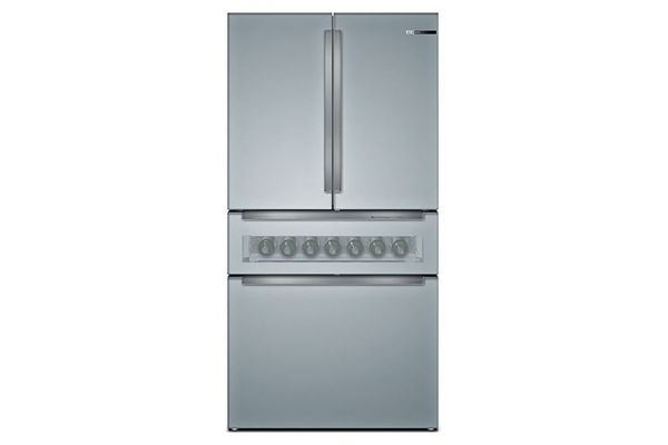 """Large image of Bosch 800 Series 36"""" Glass Over Stainless Steel Counter Depth 4 Door French Door Refrigerator - B36CL81ENG"""