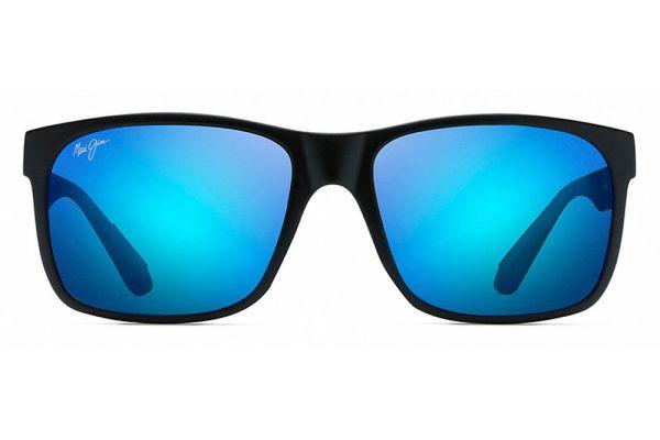 Large image of Maui Jim Red Sands Matte Black Blue Hawaii Unisex Sunglasses - B432-2M