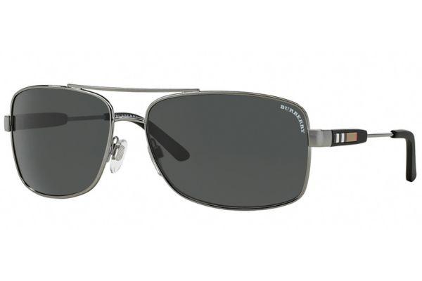 Large image of Burberry Rectangle Gunmetal Mens Sunglasses - BE3074100387
