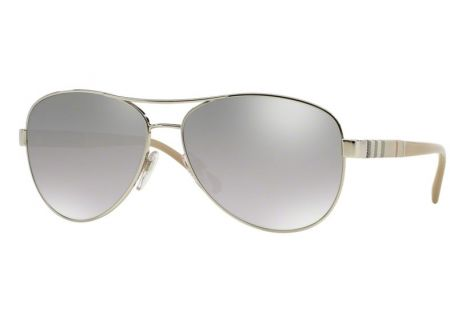 Burberry Silver Mirrored Aviator Womens Sunglasses - BE3080 10056V