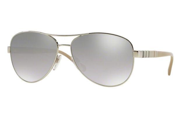 Burberry Silver Mirrored Aviator Womens Sunglasses - BE3080 0056V