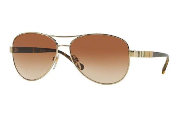 Large image of Burberry Light Gold Aviator Womens Sunglasses - BE3080114513
