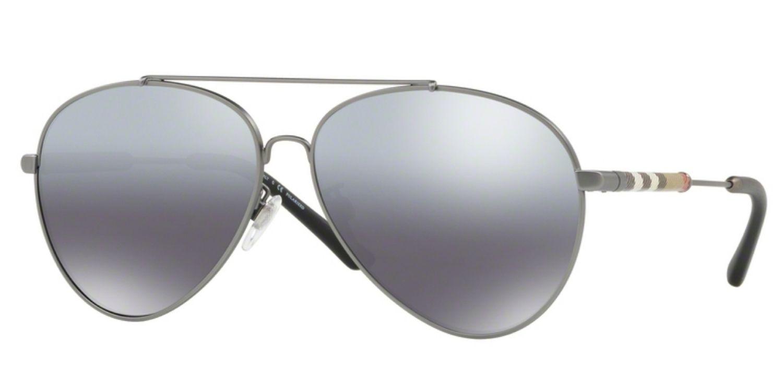 0ee333ba773e Burberry Check Detail Mirrored Pilot Matte Gunmetal Women Sunglasses -  BE3092Q 101482 60