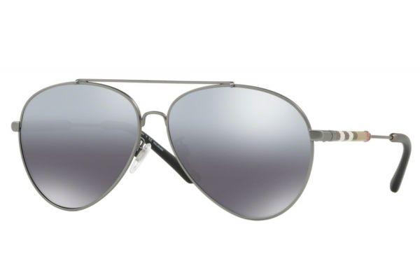 Burberry Check Detail Mirrored Pilot Matte Gunmetal Women Sunglasses - BE3092Q 101482 60