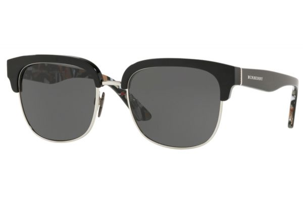 Burberry Square Black And Silver Mens Sunglasses - BE427237358753
