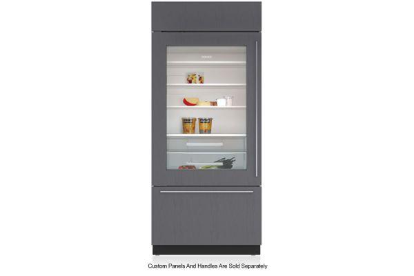 "Large image of Sub-Zero 36"" Panel Ready Left-Hinge Classic Over-And-Under Refrigerator/Freezer With Glass Door - BI-36UG/O-LH"