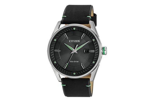 Citizen Eco-Drive CTO Silver-Tone With Black Leather Strap Mens Watch - BM6980-08E