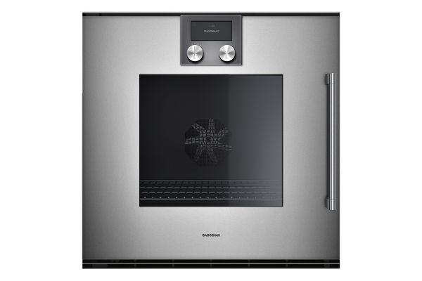 "Large image of Gaggenau 24"" 200 Series Glass Front Metallic Single Oven - BOP251611"