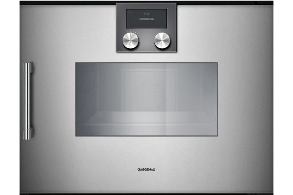 """Large image of Gaggenau 24"""" 200 Series Glass Front Metallic Combi-Steam Oven - BSP250610"""