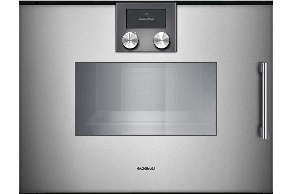 """Large image of Gaggenau 24"""" 200 Series Glass Front Metallic Combi-Steam Oven - BSP251610"""