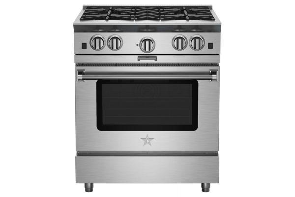 "Large image of BlueStar 30"" Platinum Series Stainless Steel Freestanding Gas Range - BSP304B"