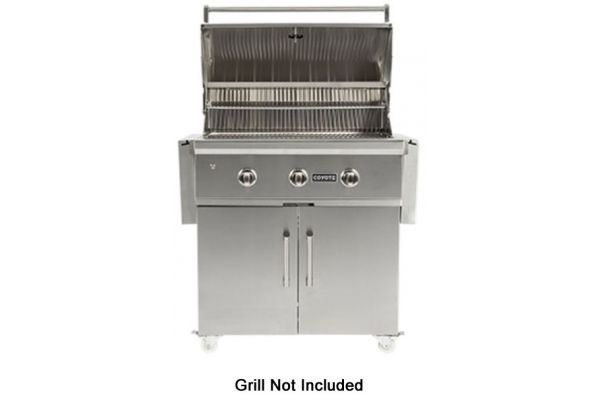 """Large image of Coyote 34"""" Stainless Steel Grill Cart - C1C34CT"""