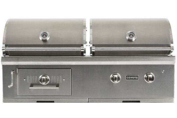 "Large image of Coyote Stainless Steel 50"" Hybrid Gas & Charcoal Grill - C1HY50NG"