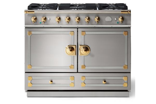 """Large image of La Cornue CornuFe 110 43"""" Stainless Steel With Polished Brass Dual Fuel Range - C1IF"""