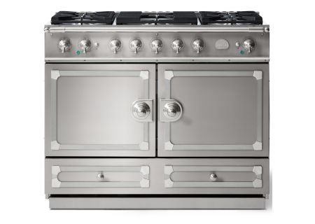 "La Cornue 43"" CornuFe 110 Stainless Steel With Satin Chrome Dual Fuel Range - C1IN"