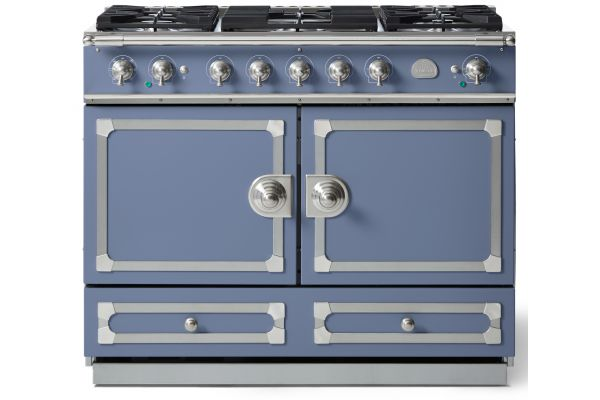 "La Cornue 43"" CornuFe 110 Provence Blue With Satin Chrome Dual Fuel Range - C1LN"