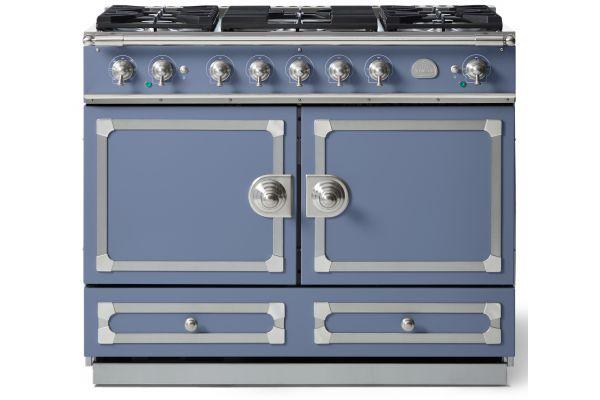 "Large image of La Cornue CornuFe 110 43"" Provence Blue With Satin Chrome Dual Fuel Range - C1LN"