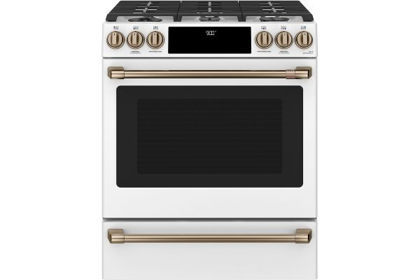 """Large image of Cafe 30"""" Matte White Smart Slide-In Dual-Fuel Range With Warming Drawer - C2S900P4MW2"""