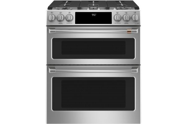 "Cafe 30"" ADA Slide-In Front Control Dual-Fuel Double Oven With Convection Range - C2S950P2MS1"