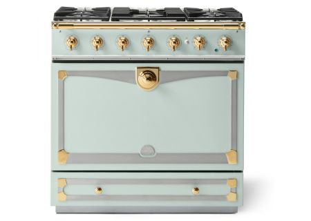 "La Cornue 36"" CornuFe 90 Suzanne Kasler Tapestry Green With Polished Brass Dual Fuel Range  - C9AF"