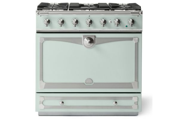 "La Cornue 36"" CornuFe 90 Suzanne Kasler Tapestry Green With Satin Chrome Dual Fuel Range - C9AN"