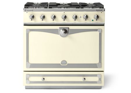 "La Cornue 36"" CornuFe 90 Suzanne Kasler Blanc White With Satin Chrome Dual Fuel Range  - C9CN"