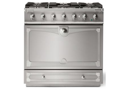 "La Cornue 36"" CornuFe 90 Stainless Steel With Satin Chrome Dual Fuel Range - C9IN"