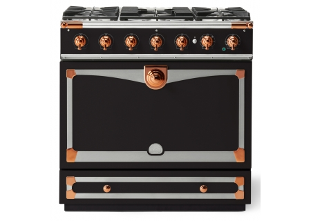 "La Cornue 36"" CornuFe 90 Matte Black With Polished Copper Dual Fuel Range - C9NC"