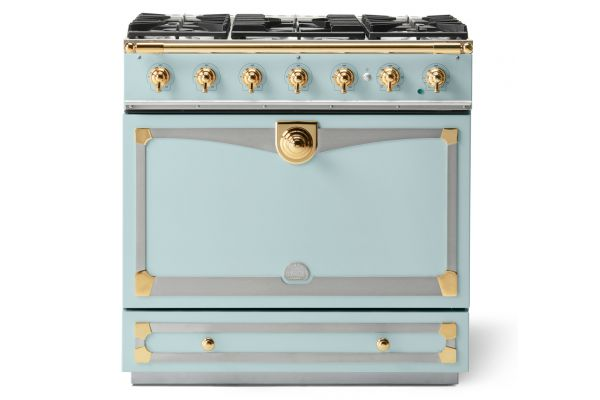 "La Cornue 36"" CornuFe 90 Suzanne Kasler Roquefort Blue With Polished Brass Dual Fuel Range - C9QF"