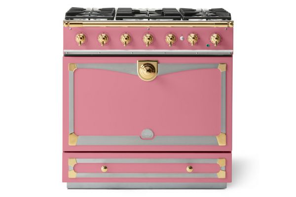 "La Cornue 36"" CornuFe 90 Suzanne Kasler Liberte Pink With Polished Brass Dual Fuel Range - C9TF"