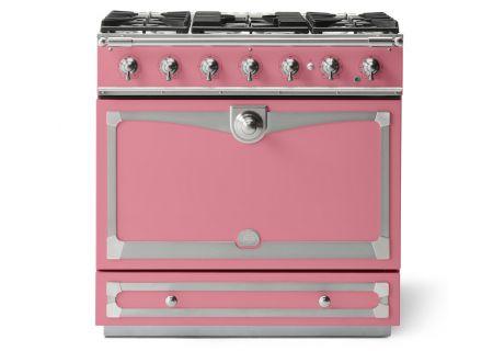 "La Cornue 36"" CornuFe 90 Suzanne Kasler Liberte Pink With Satin Chrome Dual Fuel Range - C9TN"