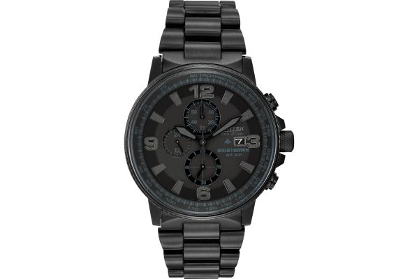 Large image of Citizen Eco-Drive Black Nighthawk Mens Watch - CA0295-58E