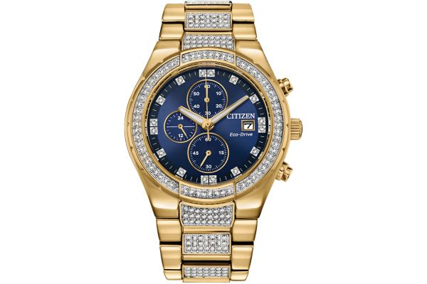 Large image of Citizen 42mm Crystal Gold-Tone Stainless Steel Mens Watch - CA075258L
