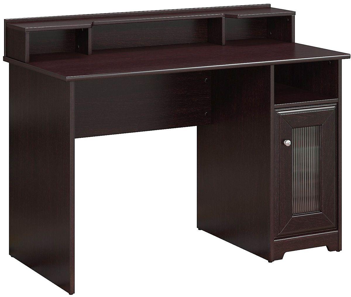 Bush furniture cabot espresso oak single pedestal desk for Bush furniture
