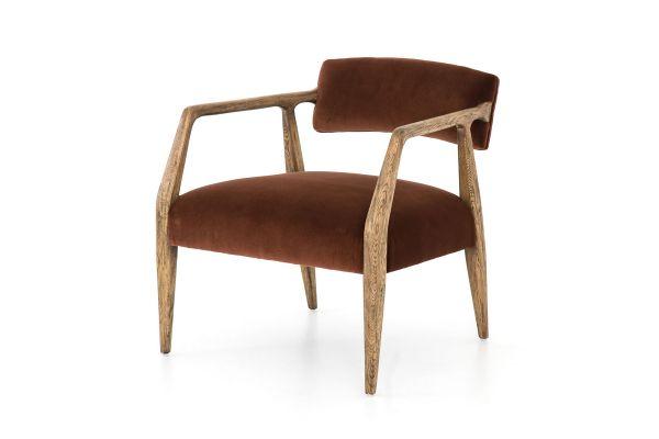 Large image of Four Hands Abbott Collection Burnt Auburn Velvet Tyler Arm Chair - CABT-42A-358