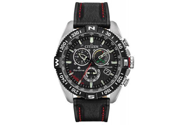 Large image of Citizen Promaster Navihawk Black Leather Mens Watch - CB584105E