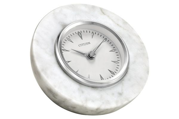 Large image of Citizen Decorative White Marble Half Sphere Clock - CC1020