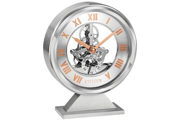 Large image of Citizen Decorative Brushed Silver-Tone Skeleton Clock - CC1027
