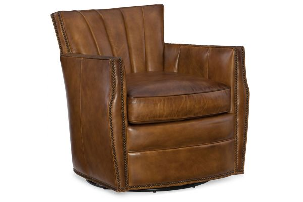 Large image of Hooker Furniture CC Collection Carson Swivel Light Brown Leather Club Chair - CC492-SW-083