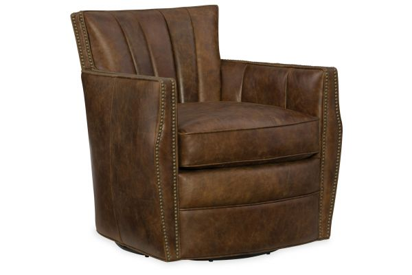 Large image of Hooker Furniture CC Collection Carson Swivel Dark Brown Leather Club Chair - CC492-SW-085