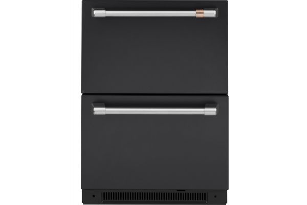 Large image of Cafe 5.7 Cu. Ft. Matte Black With Brushed Stainless Built-In Dual-Drawer Refrigerator - CDE06RP3ND1