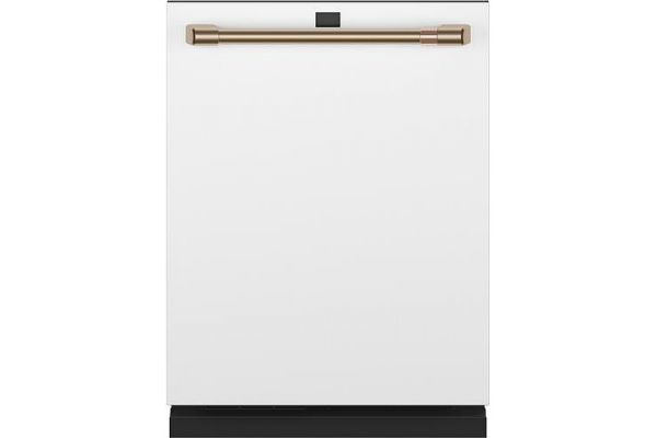 """Large image of Cafe 24"""" Matte White With Brushed Bronze Built-In Dishwasher - CDT875P4NW2"""