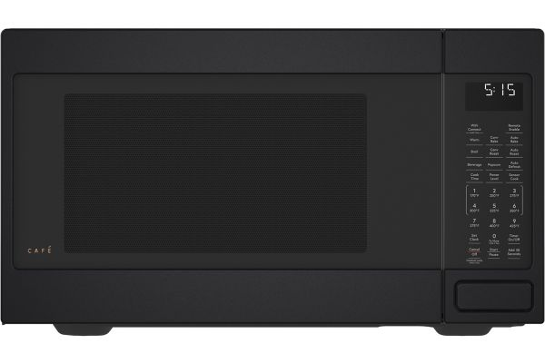 Large image of Cafe 1.5 Cu. Ft. Matte Black Smart Countertop Convection Microwave Oven - CEB515P3NDS