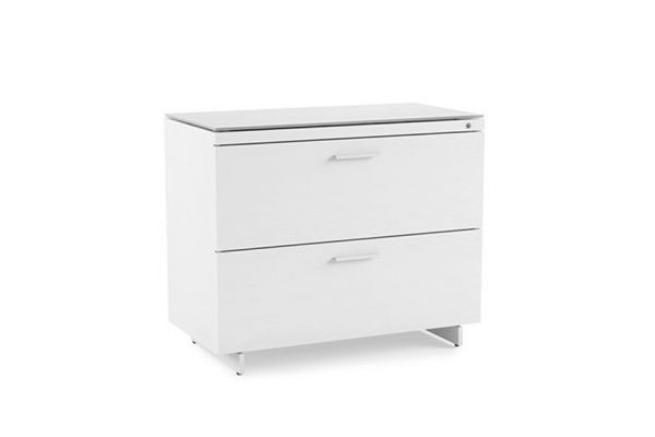 Large image of BDI Centro 6416 Satin White on Oak/ Grey Glass Lateral File Cabinet - 6416 SW/GRY