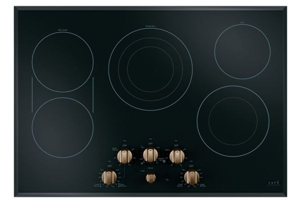 """Large image of Cafe 30"""" Stainless Steel With Brushed Bronze Electric Cooktop - CEP70303MS2"""