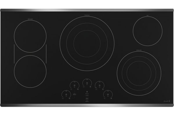 """Large image of Cafe 36"""" Stainless Steel Built-In Electric Cooktop - CEP90362NSS"""