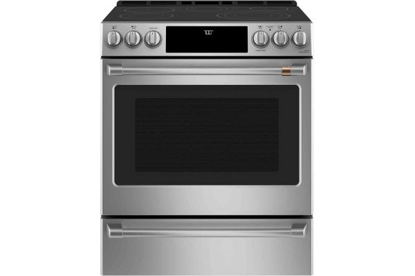 """Large image of Cafe 30"""" Stainless Steel Slide-In Electric Range - CES700P2MS1"""