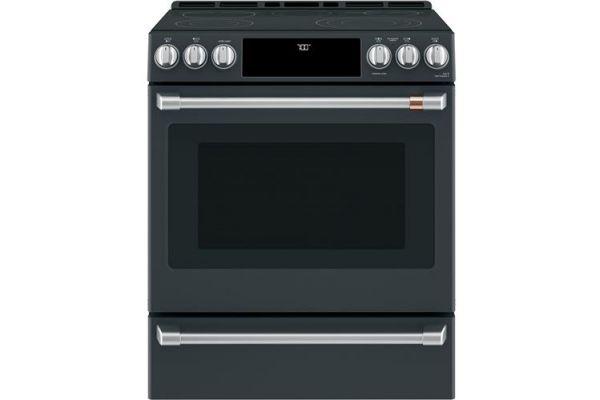 """Large image of Cafe 30"""" Matte Black Slide-In Single Oven Electric Range - CES700P3MD1"""